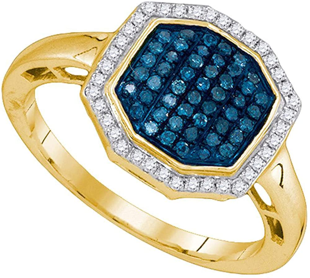 Dazzlingrock Collection 10kt Yellow Gold Womens Round Blue Color Enhanced Diamond Octagon Geometric Cluster Ring 1/3 ctw