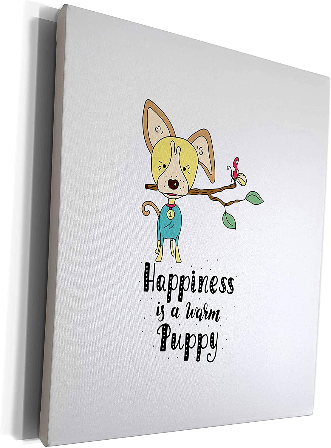 3dRose Uta Naumann Sayings and Typography - Cute Dog Animal Illustration Typography - Happiness Is a Warm Puppy - Museum Grade Canvas Wrap (cw_290202_1)