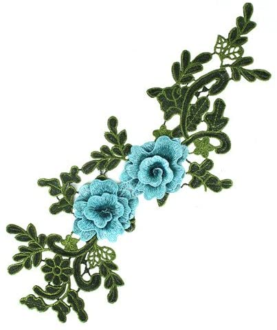 1piece 3D Flowers Embroidery Patches Sew on Clothing Dress Lace Fabric Motifs Applique DIY Clothes Dress Sewing Accessory TH2659 (Turquoise)