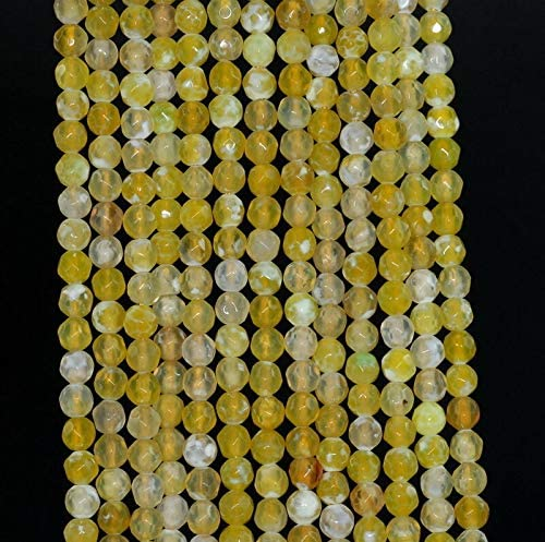 4MM Agate Gemstone Lemon Yellow Faceted Round Loose Beads 15 BD-73
