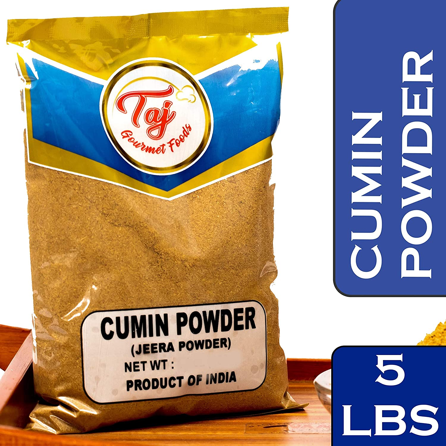 TAJ Premium Indian Cumin Powder, Jeera Ground, (5-Pounds)