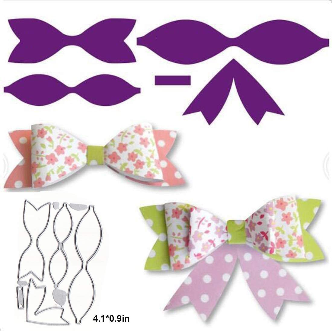 Bow Metal Cutting Dies 4.4 by 2.9 Inch Christmas Die Cuts for Card Making and Scrapbooking (Bow Dies)