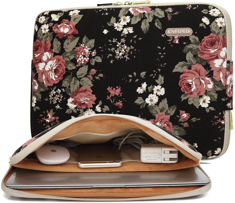 kayond Water-Resistant Canvas 15.6 Inch Laptop Sleeve-Black C Rose