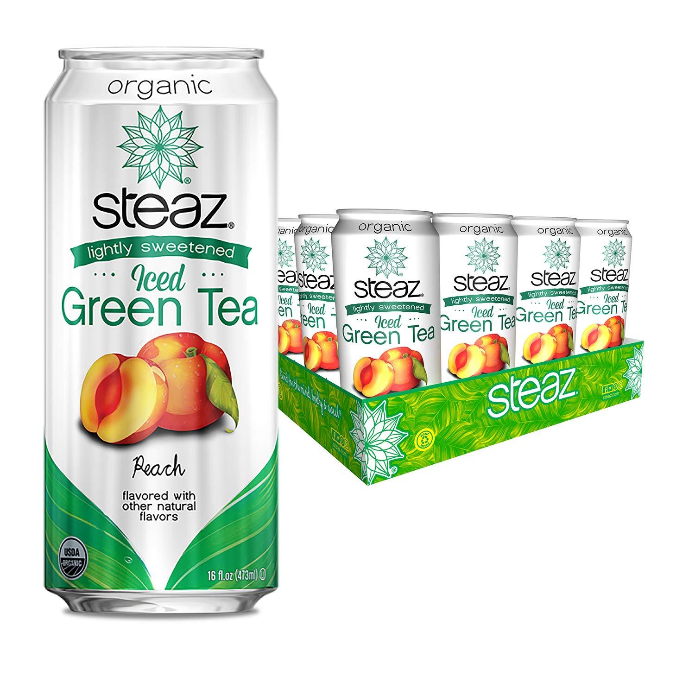 Steaz Organic Lightly Sweetened Iced Green Tea, Peach, 16 OZ (Pack of 12)