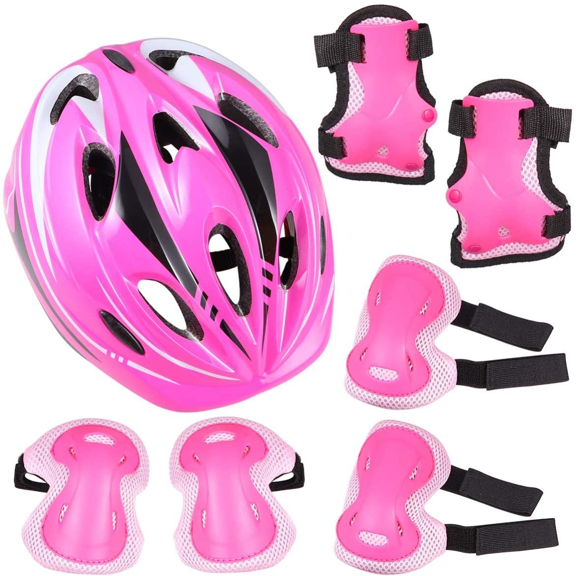 BESPORTBLE 7pcs Kids Bike Helmet Sport Protective Gear Set Knee Pads Elbow Pads Wrist Guards Skateboard Helmet Set for Boy Girl