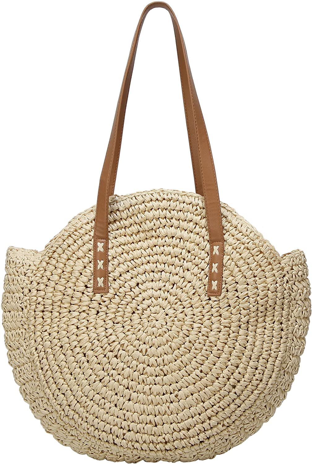 Molodo Round Summer Straw Large Woven Bag Purse For Women Vocation Tote Handbags