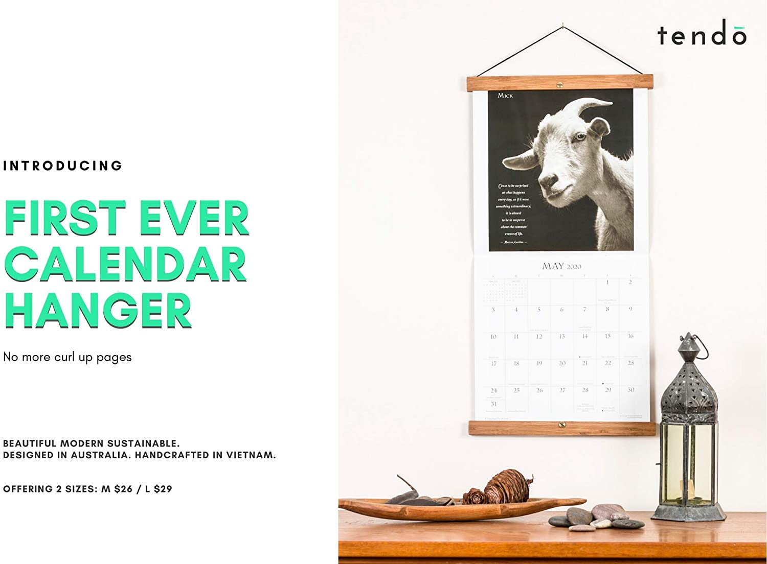 Tendō Natural Bamboo 2020 Wall Calendar Display Hanger Frame | No More Curled Up Pages | Natural Chocolate Finish | Large