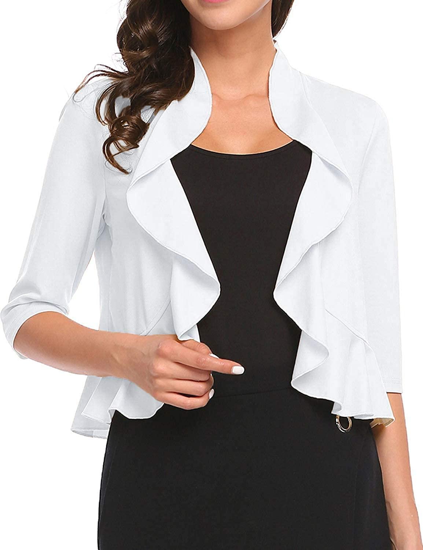 Women's Open Front Cropped Cardigan 3/4 Sleeve Casual Shrugs Jacket Draped Ruffles Lightweight Sweaters