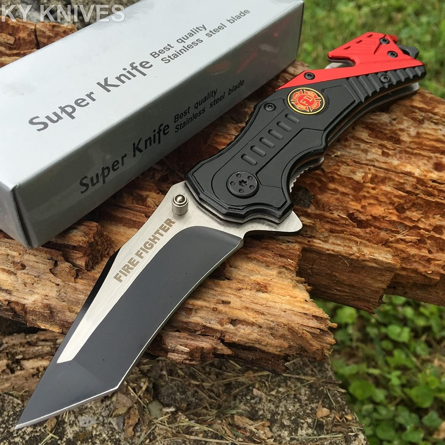 Snake Eye Tactical Rescue Style Assisted Opening Knife with Clip Outdoors Camping Hunting Fishing (Red)
