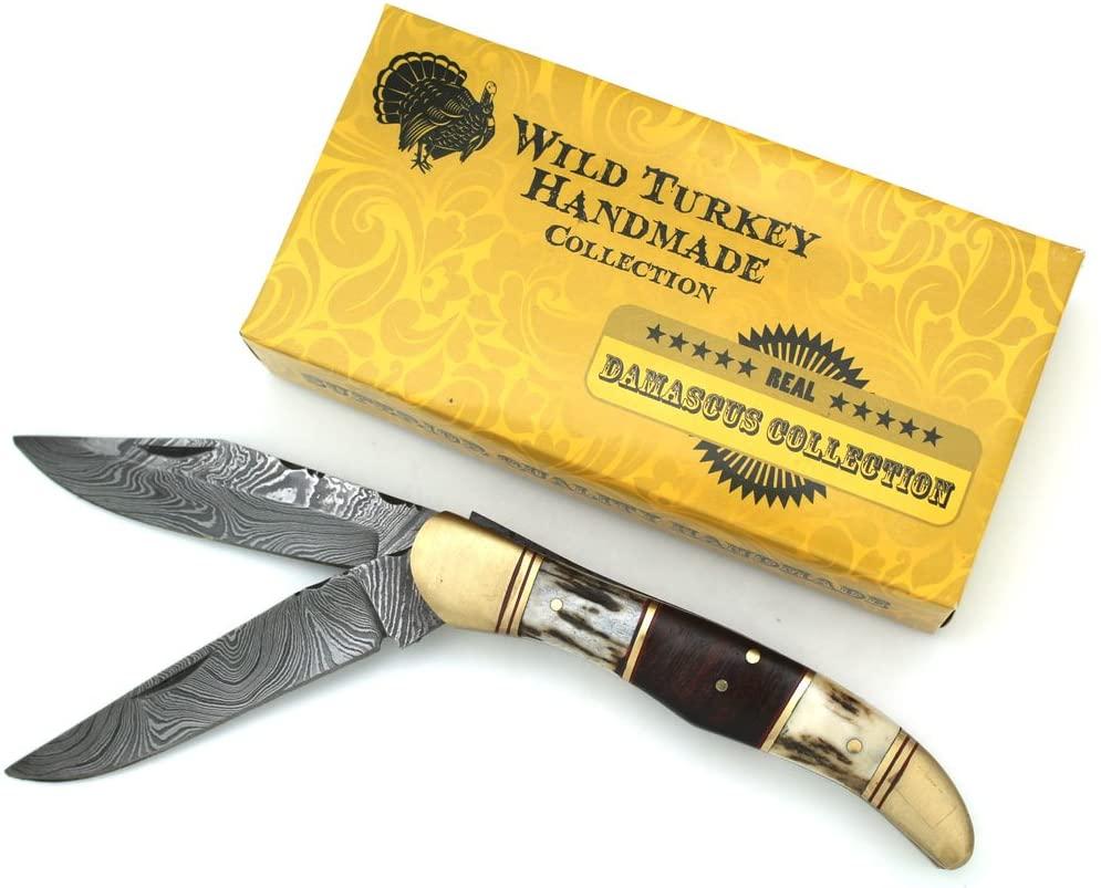 Wild Turkey Handmade Stag Horn & Walnut Wood Dual Blade Hand Filed Damascus Steel Folding Pocket Knife