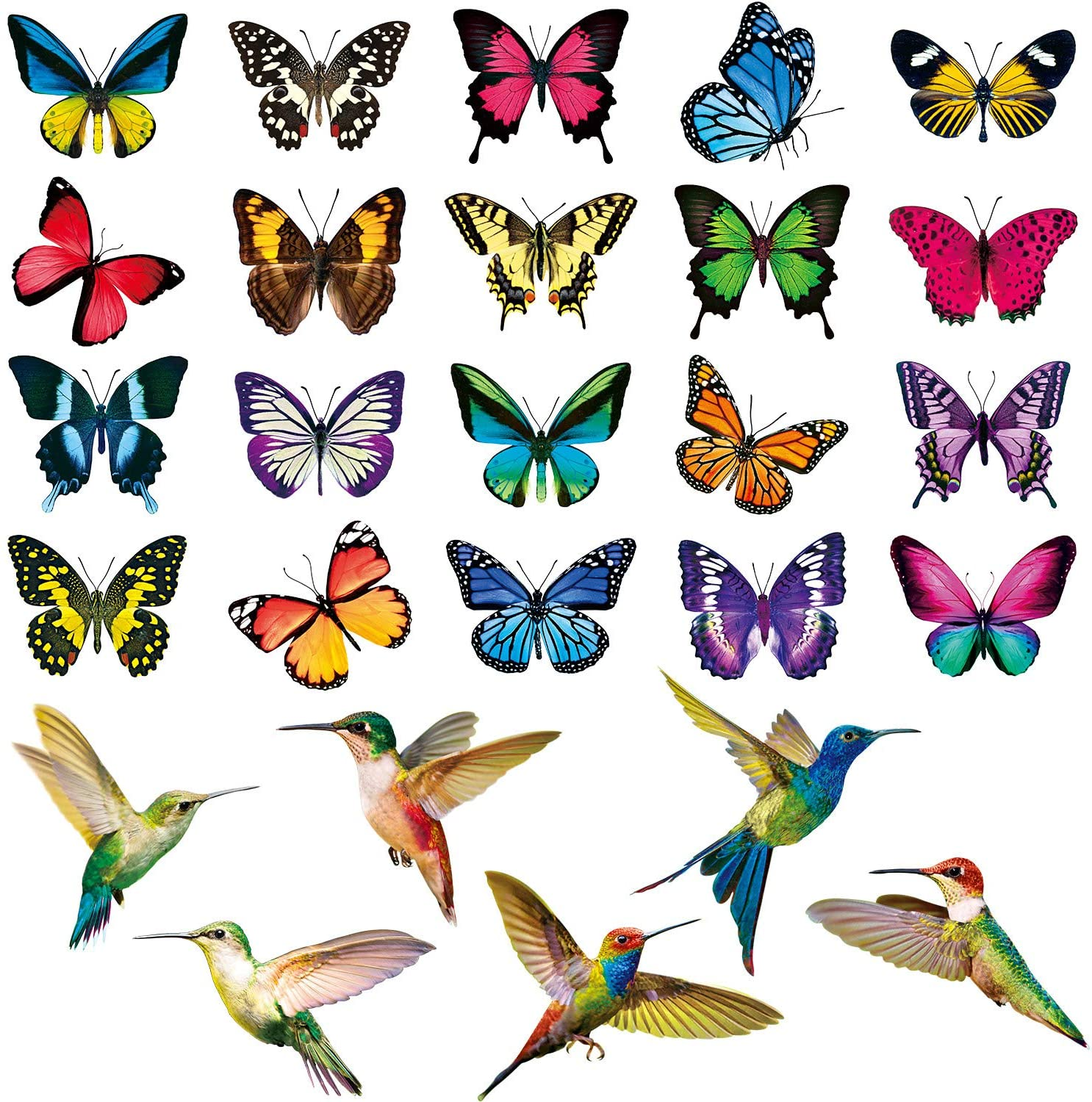 26 Pieces Hummingbird Butterfly Window Clings Anti-Collision Window Decals Non Adhesive Vinyl Window Clings Stickers for Preventing Bird Strikes on Window Glass or Home Decoration