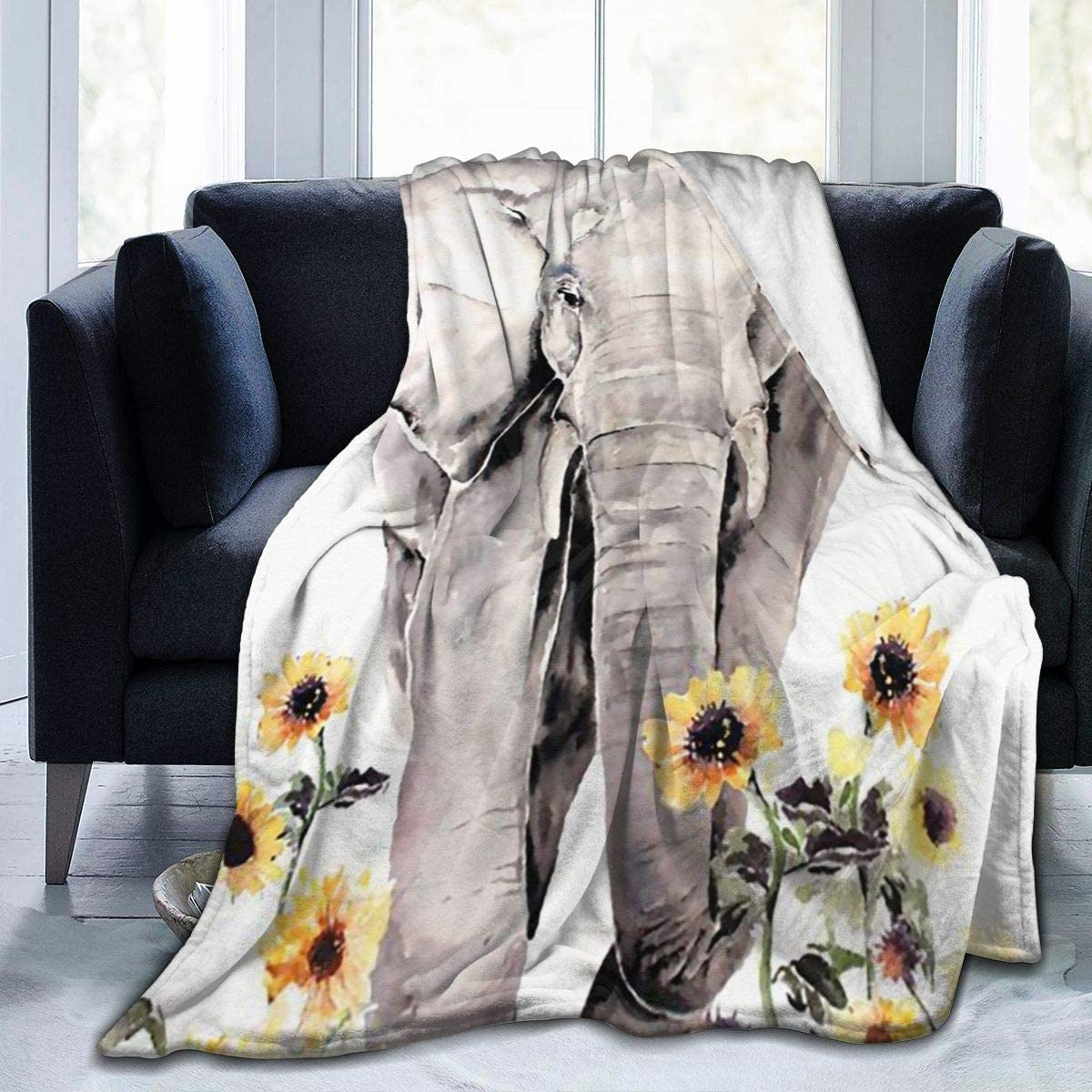 Elephant and Sunflower Throw Blanket Flannel Fleece Twin Travel Blankets Extra Soft Cozy Lightweight Thin Blanket for Spring Summer All Seasons for Indoor Outdoor Use Housewarming Gifts 80x60 in