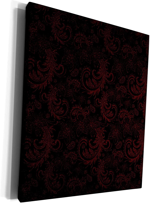 3dRose Simone Gatterwe Designs Elegant Fashionable - A elegant vintage flourish damasks in black and dark red - Museum Grade Canvas Wrap (cw_201083_1)