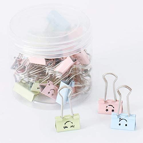 Clips Smile face Clip Color Ticket Clip Binding Stationery Cute Office Accessories Binder Clips Office Supplies Metal Clip Paper Clips - (Color: 3 Colors Mixed 40pcs)