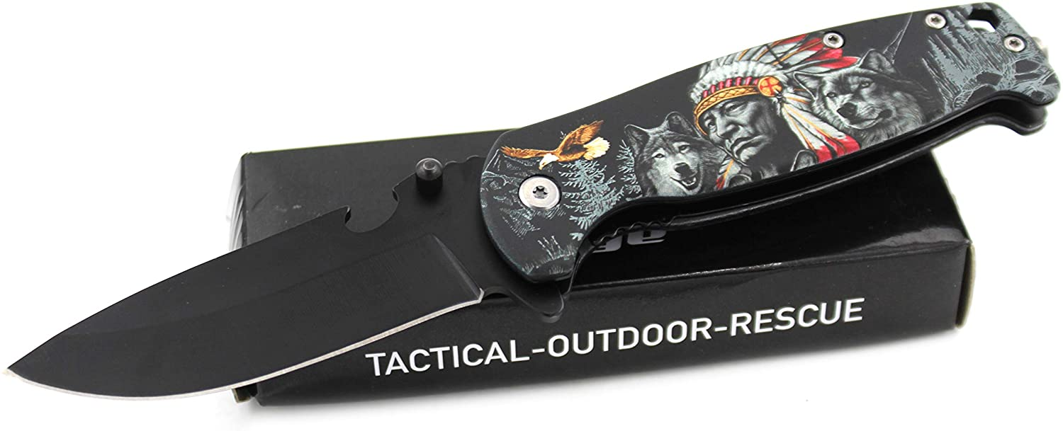Snake Eye Tactical Every Day Carry 3D Fantasy Printed Handle Manual Folding Knife Ultra Smooth One Hand Opening Folding Pocket Knife - Ideal for Recreational Work Hiking Camping