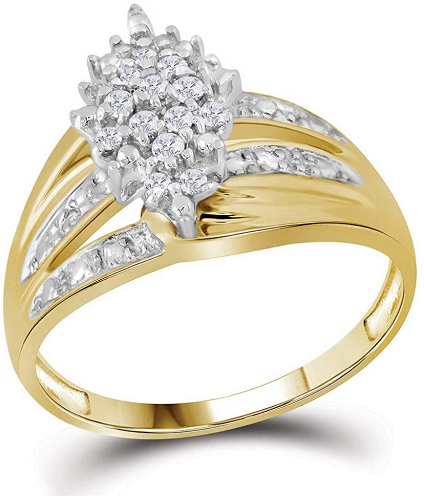 Dazzlingrock Collection 10kt Yellow Gold Womens Round Prong-set Diamond Oval Cluster Ring 1/5 ctw