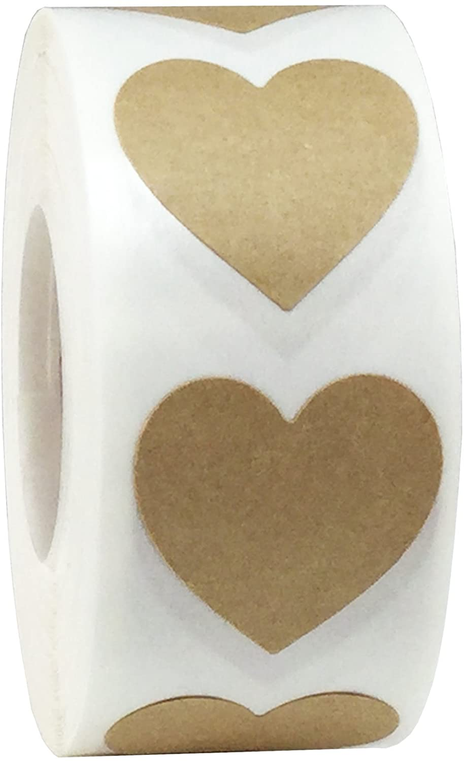 Natural Brown Kraft Heart Stickers Valentine's Day Crafting Scrapbooking 1 Inch 500 Adhesive Stickers