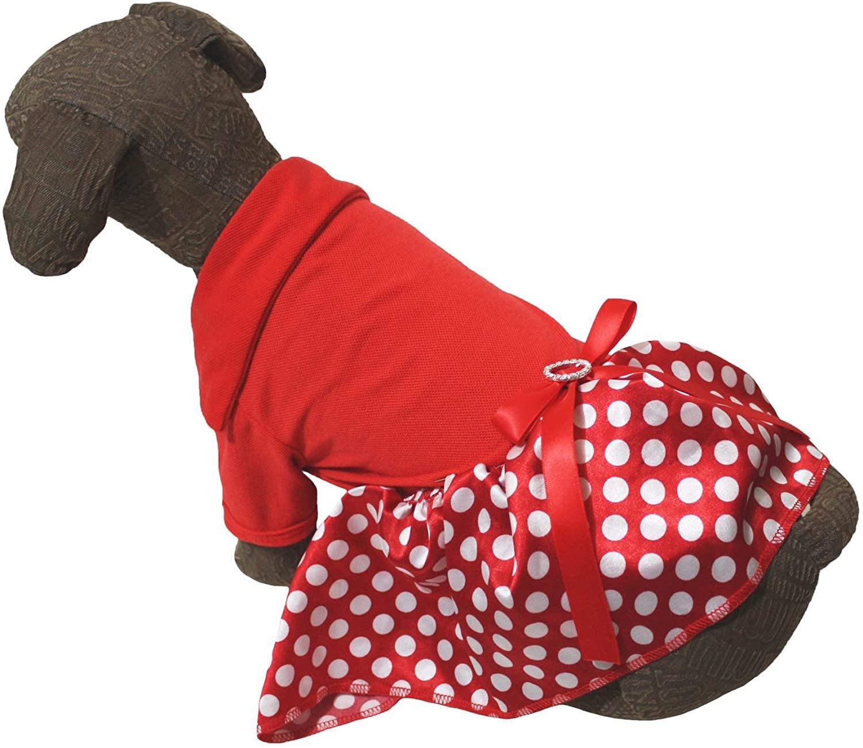 Puppy Clothes Dog Dress Plain Red Cotton T Shirt White Polka Dots Tutu