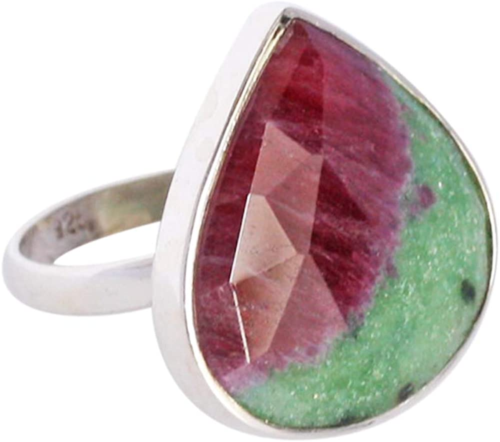 Adjustable Ring Natural Red Green Ruby Zoisite Gemstone Ring, Faceted Cut, Heart Shape, 925 Solid Sterling Silver FSJ-3495