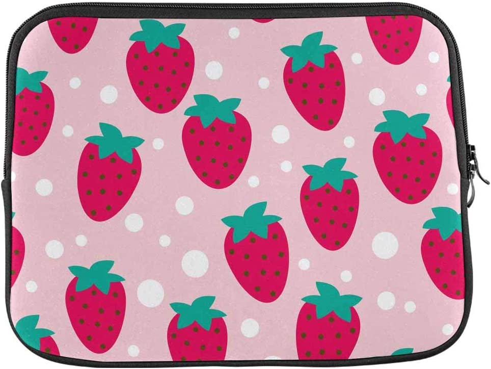 INTERESTPRINT Laptop Water Resistant Sleeve Bag Strawberry Dot Notebook Computer Case Cover 15.4 Inch 15.6 Inch
