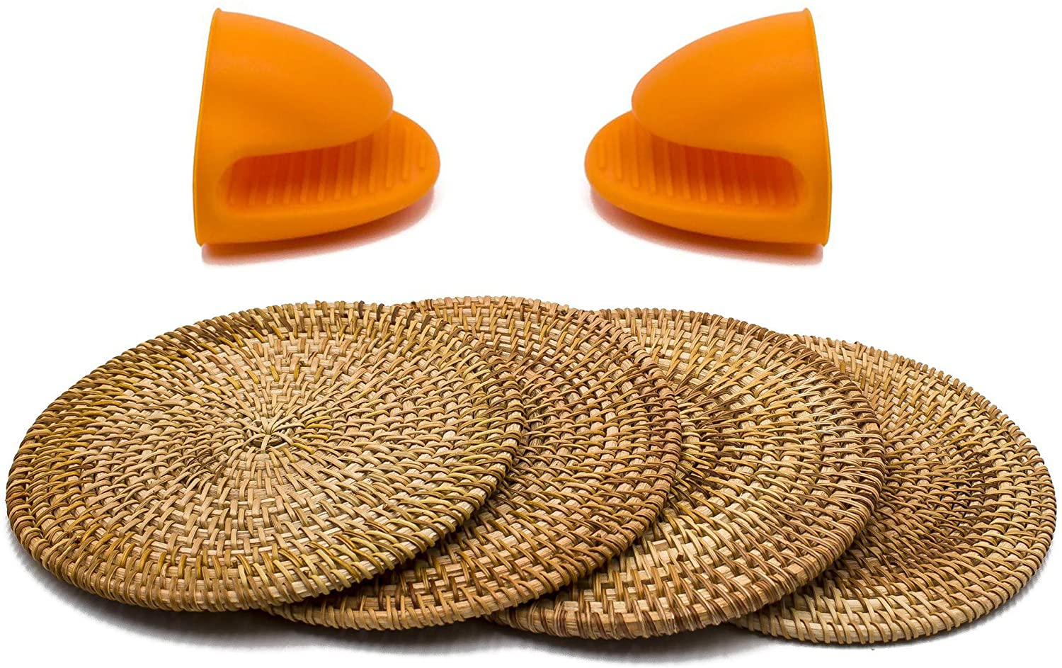 BEEHOMEE Trivets For Hot Dishes - Woven Rattan Trivets Hot Pads For Dinning Table,kitchen Heat Resistant Straw Dish Coasters Placemats Pot Holder (7.08 Inch) …