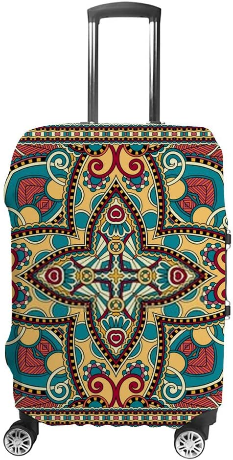 Kuizee Luggage Cover Suitcase Cover Traditional Ethnic Ornamental Floral Paisley Travel Luggage Protector Dustproof Durable XL Fits 28-32 Inch Luggage