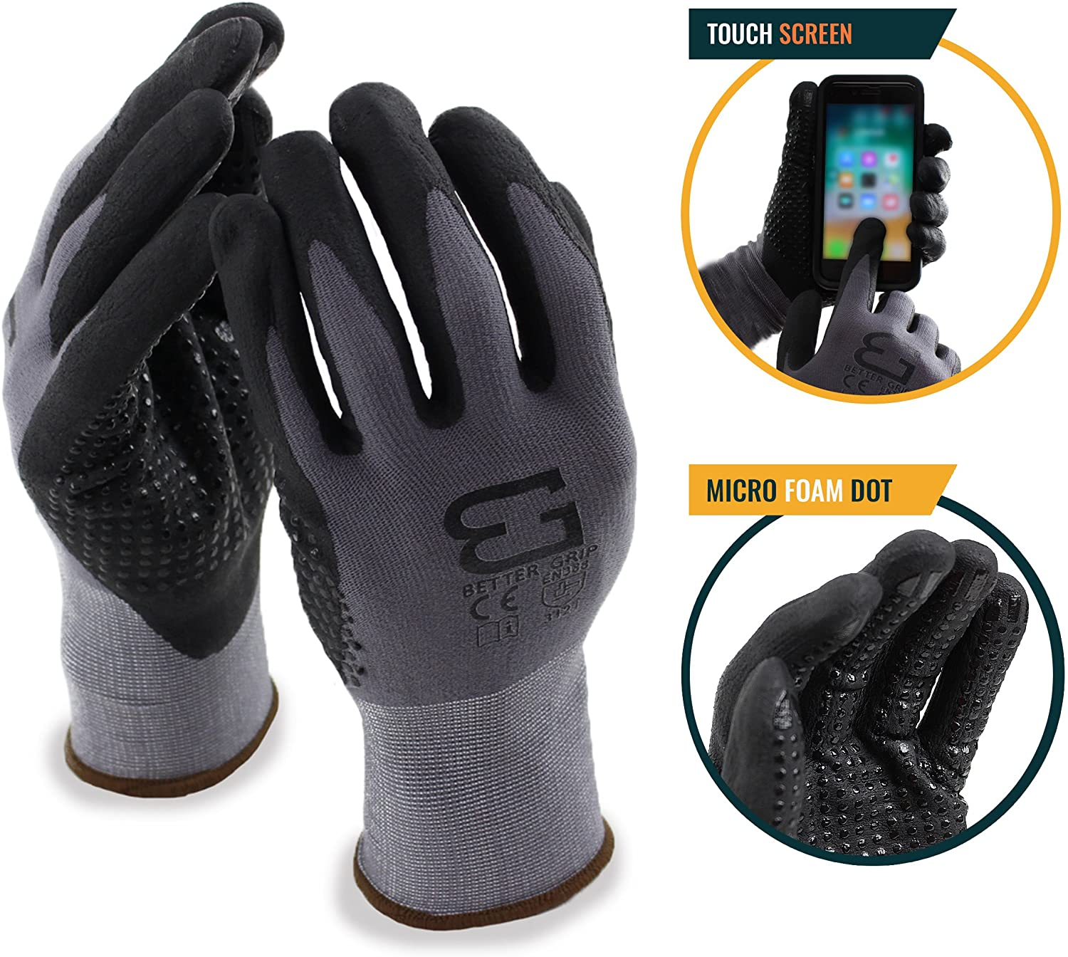 Better Grip Flex BGFLEXDOT Micro Foam Nitrile Coated Nylon Work Gloves with Nitrile Dots on Palm For Smart Phone (Pack of 3, Extra Large, Gray)