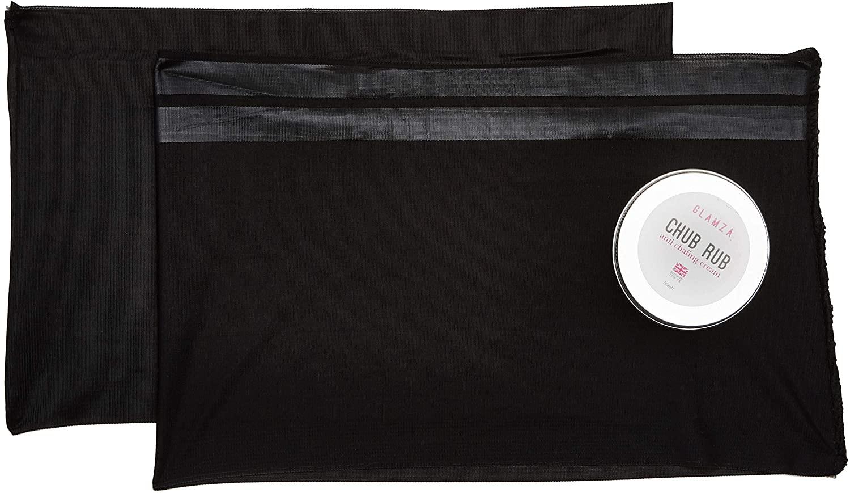 Glamza Black Pair Anti Chafing Thigh Bands Elastic Non Slip Leg Comfort Running Sports (Size E - (62CM - 70CM))