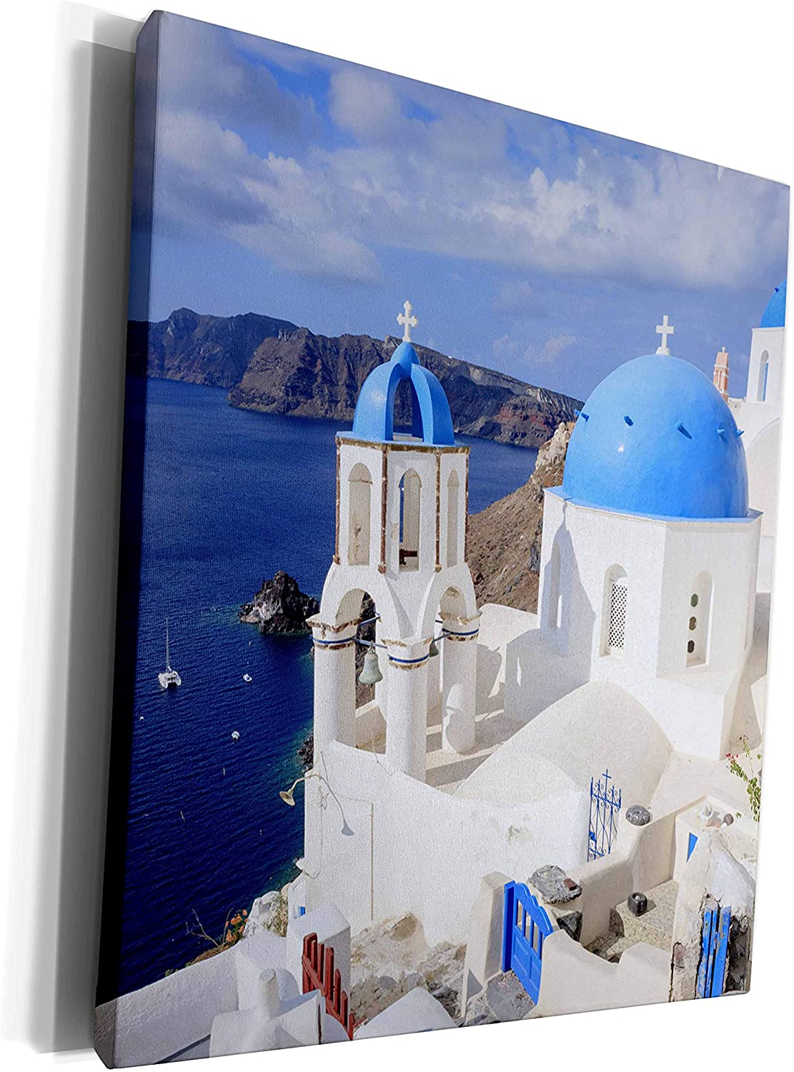 3dRose Danita Delimont - cities - Traditional Blue Roofed Churches and homes, Santorini. Greece. - Museum Grade Canvas Wrap (cw_257656_1)