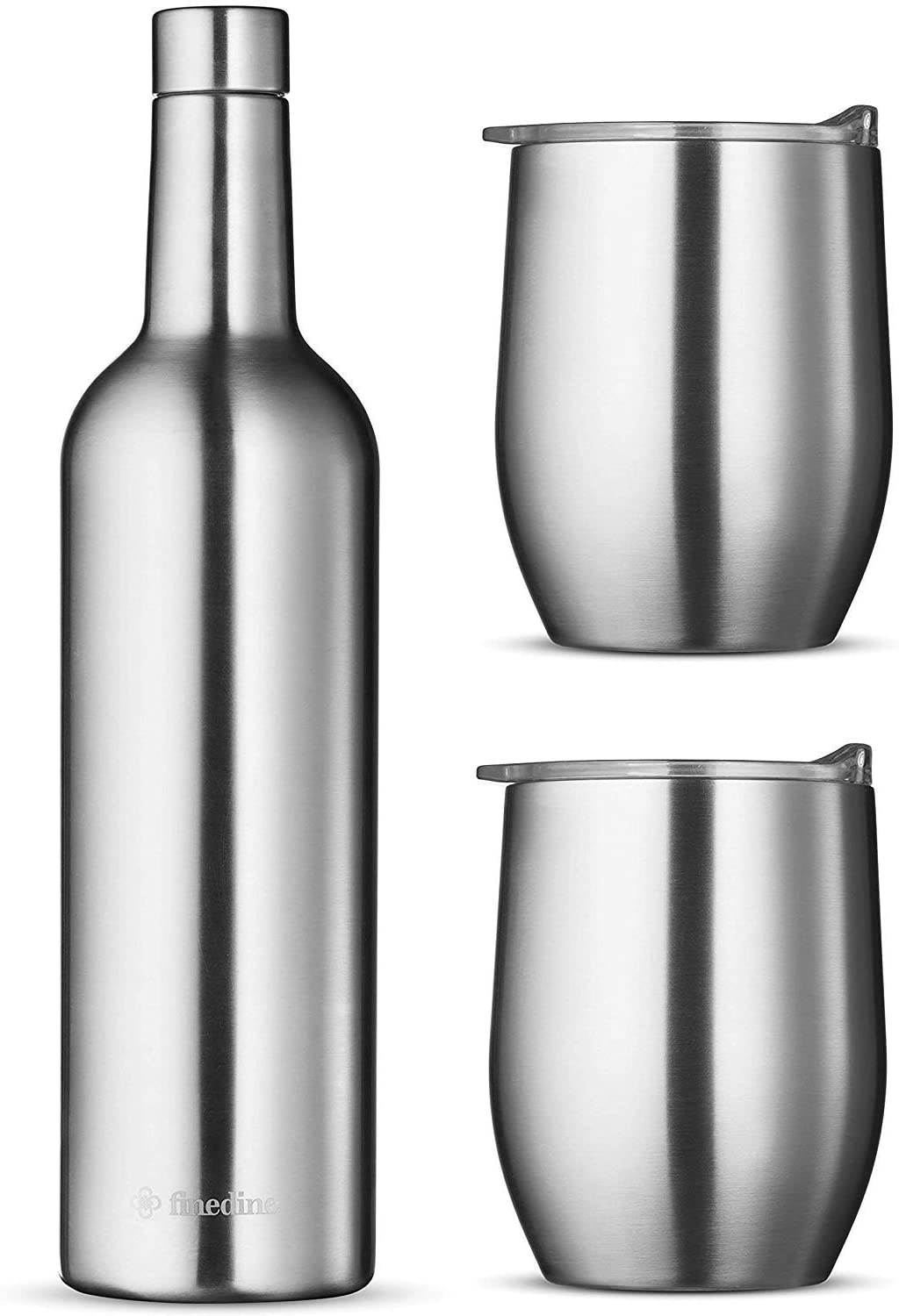 Wine Chiller Gift Set - Vacuum Insulated Bottle 750ml Two Tumbler with Lids 16oz. Silver Stainless Steel
