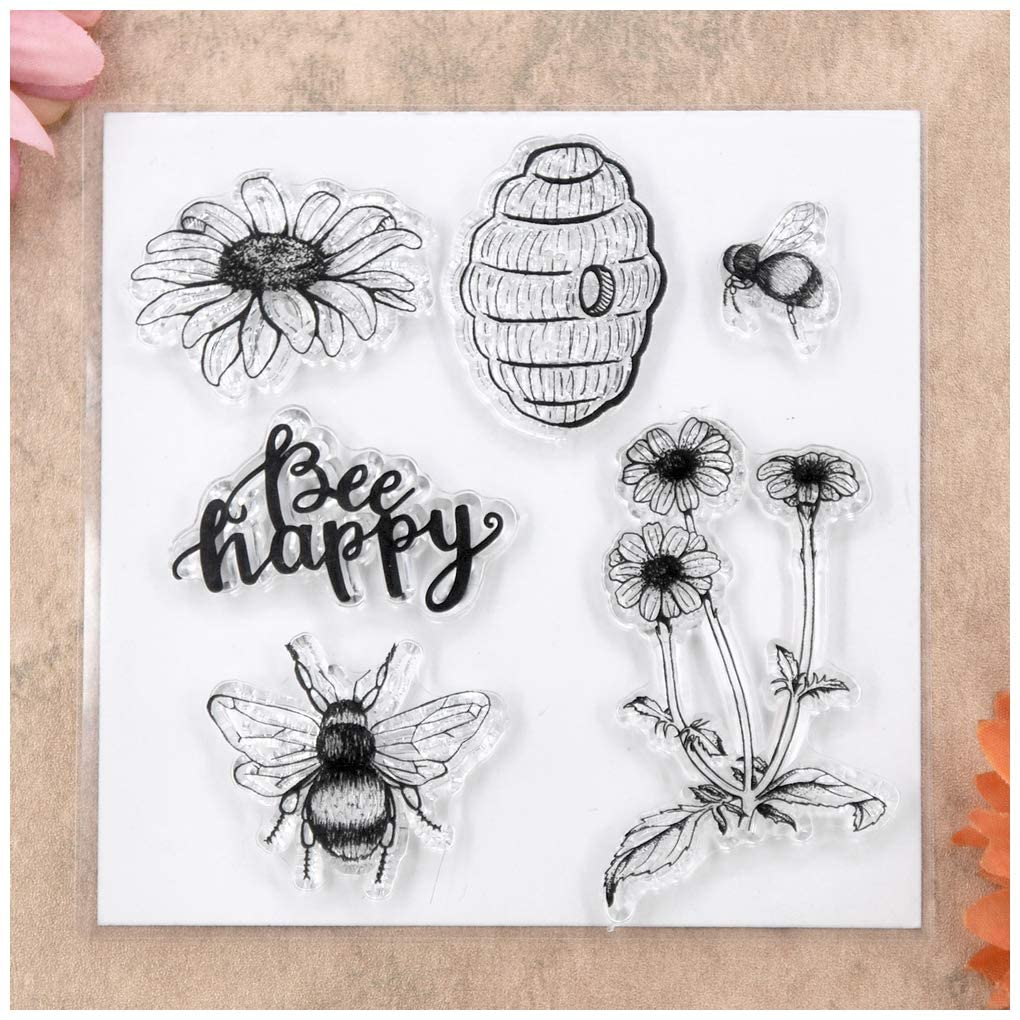 KWELLAM Bee happy FLowers Clear Stamps for Card Making Decoration and DIY Scrapbooking
