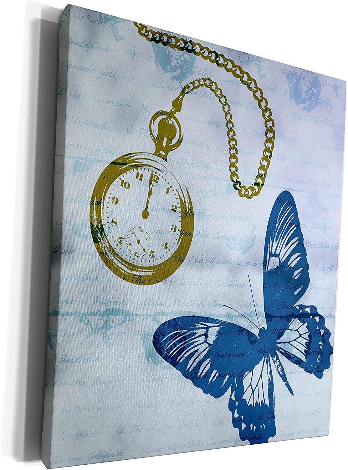 3dRose PS Animals - Butterfly Time abstract stopwatch vintage style - Museum Grade Canvas Wrap (cw_178941_1)