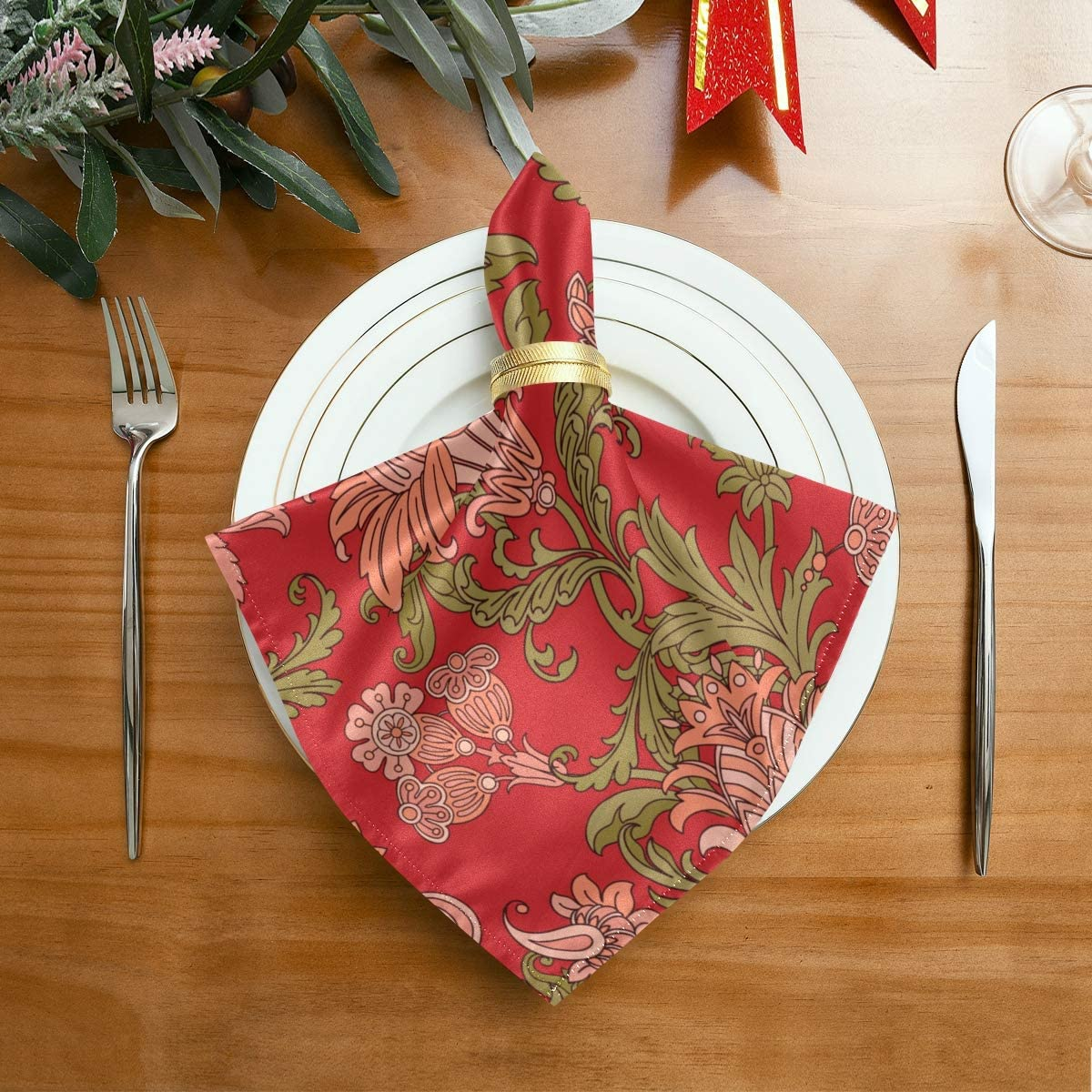 CFAUIRY Cloth Napkins Set of 6 Flower Leaves 20x20 Inch Dinner Reusable Napkins Table Cloth Napkin Washable for Holiday Party Restaurant Banquet