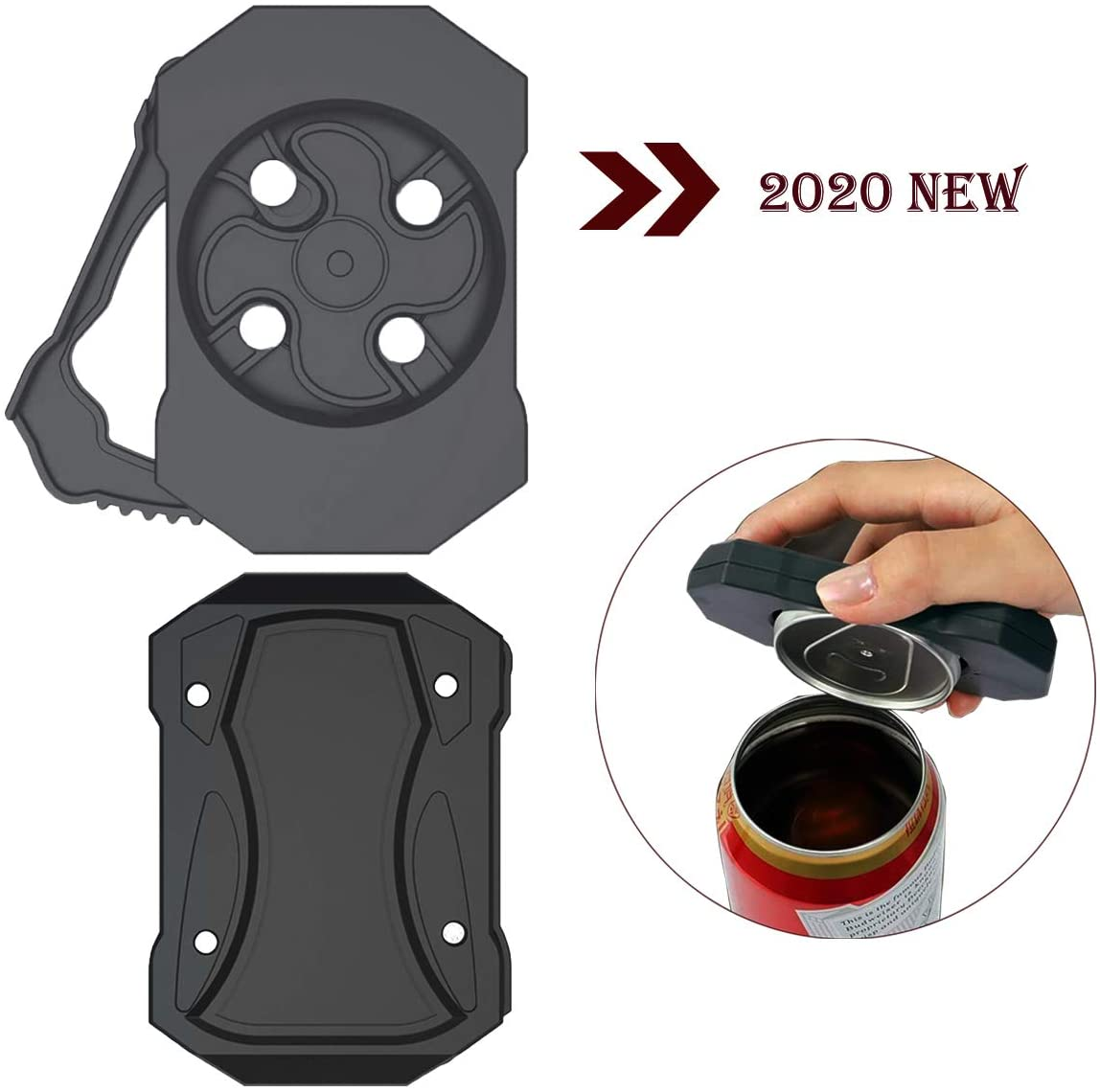 Go Swing Topless Can Opener, No Sharp Edges Leaving Manual Bottle Cap Beer Soda Drink Opener with Locking Feature, Effortless Jar Openers for Household Kitchen, Bar Tool for 8-19 oz Beverage Cans