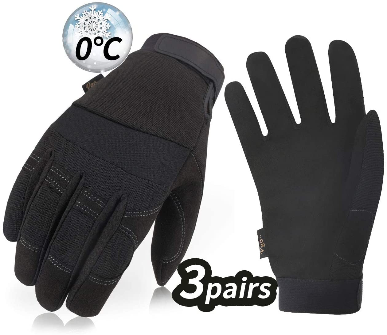Vgo 3Pairs 32℉ or Above 3M Thinsulate C40 Lined Winter Warm Synthetic Leather Gloves(Size XL,Black,SL8270F)