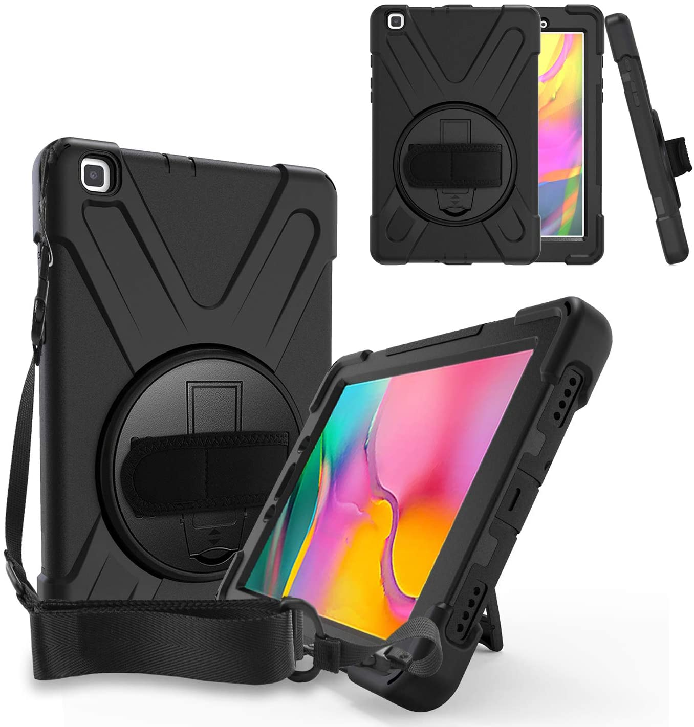 KIQ Galaxy Tab A 8.0 P200 Case, Shockproof Heavy Duty Impact Drop Protection Stand Screen Protector Carrying Strap for Samsung Galaxy Tab A 8.0 2019 SM-P200 (Shield Black)