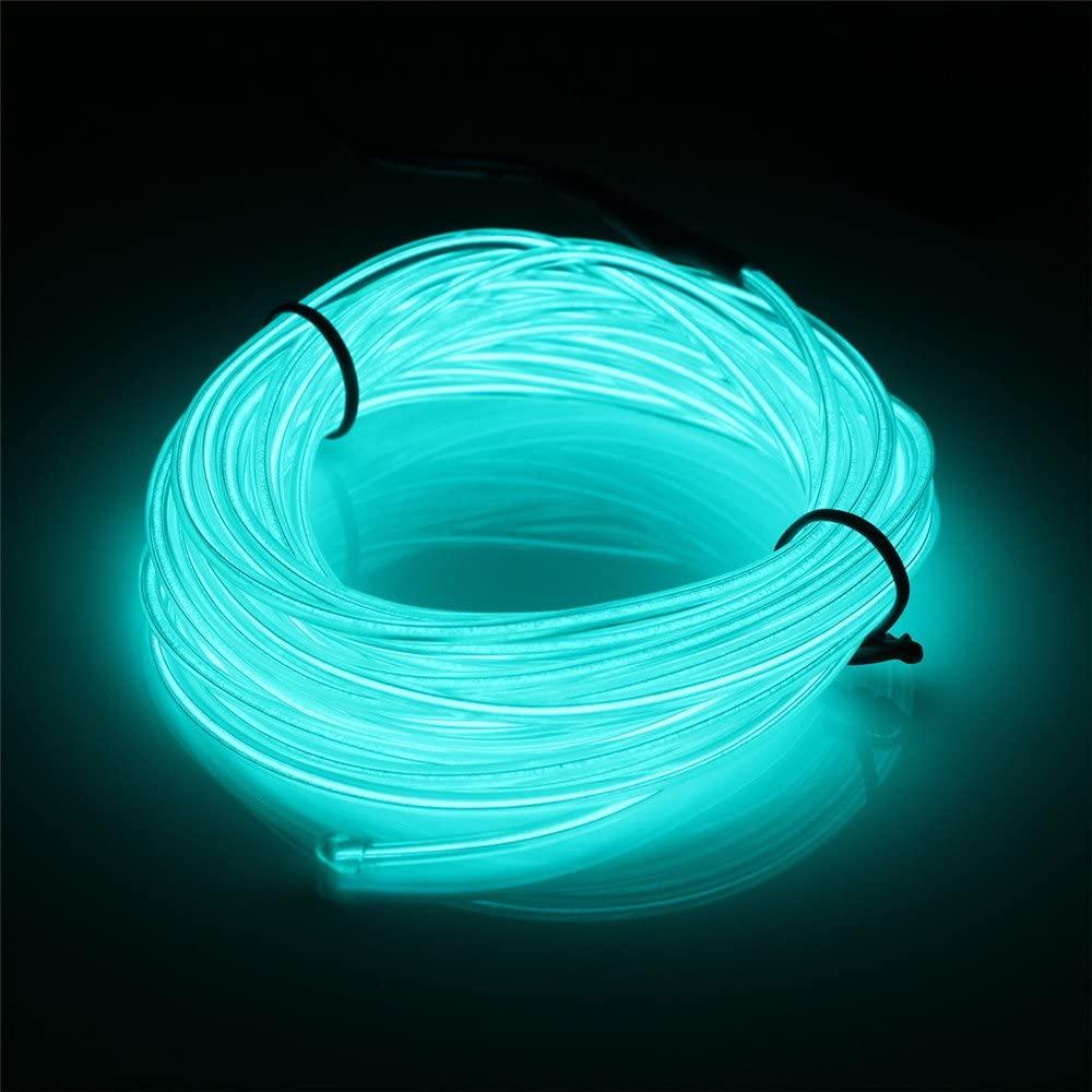 JIGUOOR EL Wire Battery Pack 9.8ft / 3m Bright Neon Light Strip 360° Illumination Neon Tube Rope Lights for DIY, Festival, Party Decoration, Pub, Halloween, Chrismas (Light Green)