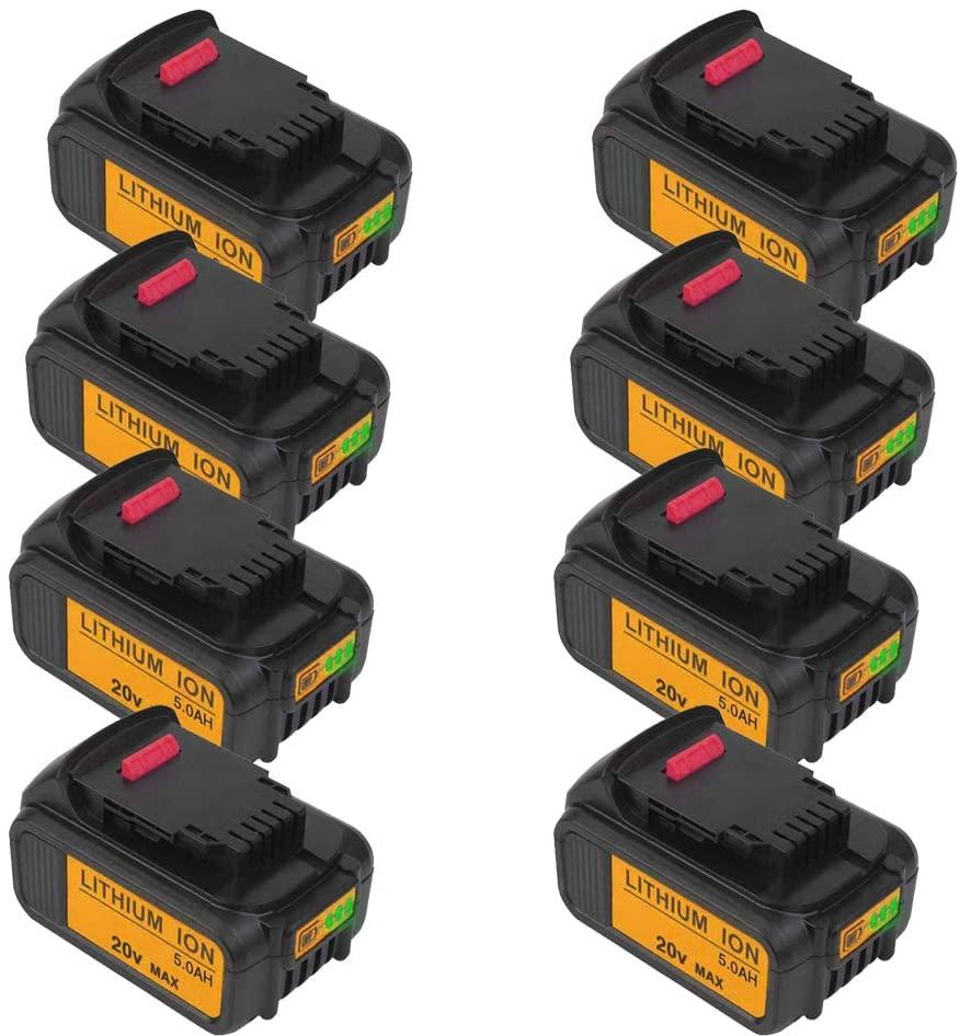 5000mAh 20V DCB205 Battery High Capacity Lithium-ion Replacement for Dewalt 20V Battery DCB200 DCB206 DCB206-2 DCB204 DCB204BT-2 DCB203 DCB201 DCB205-2 DCB180 DCD985B DCD771C2 DCS355D1 DCD790B 8Pack