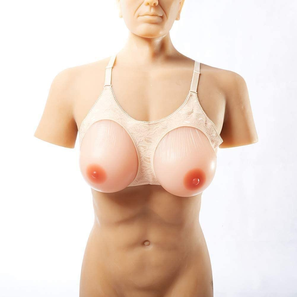 LAMZ Breast Prosthesis Fake Boobs Sexy Head Cover Mastectomy Cosplay Adjustable Strap Transgender Shemale 0829 (Color : 10XL)