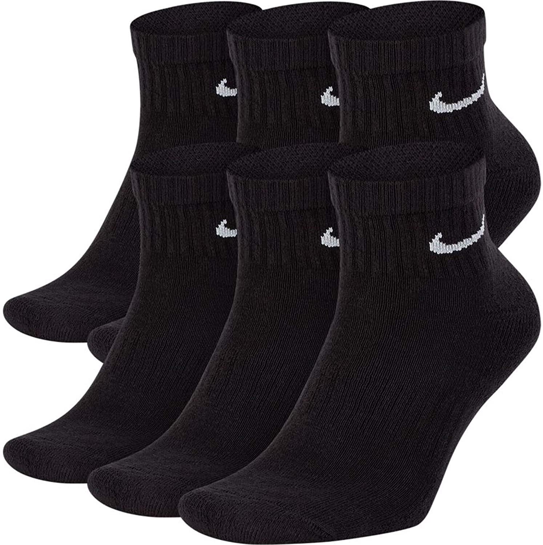 NIKE Dri-Fit Training Everyday Cotton Cushioned Quarter Cut Socks 6 PAIR Black with White Signature Swoosh Logo) LARGE 8-12-UNISEX