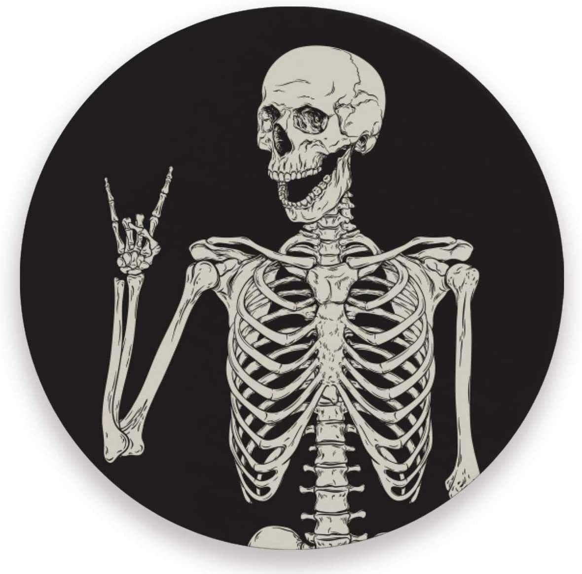 Olinyou Funny Human Skeleton Black Coaster for Drinks 1 Pieces Absorbent Ceramic Stone Coasters with Cork Base
