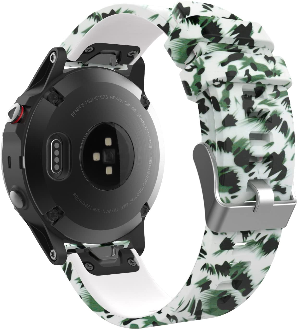 MoKo 22mm Band Compatible with Garmin Fenix 6/6 Pro/Fenix 5/5 Plus/Forerunner 935/Aproach S60, Printing Pattern Silicone Strap, Ink Painting