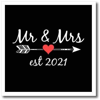 3dRose Stamp City - Typography - Mr and Mrs Est 2021 White Lettering and Arrow with red Heart on Black. - 10x10 Iron on Heat Transfer for White Material (ht_322466_3)
