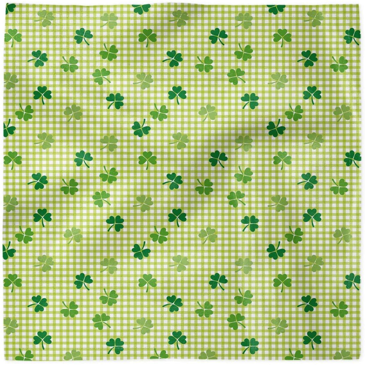 Ambesonne Irish Decorative Napkins Set of 4, Checkered Retro Shamrocks, Satin Fabric for Brunch Dinner Buffet Party, 12