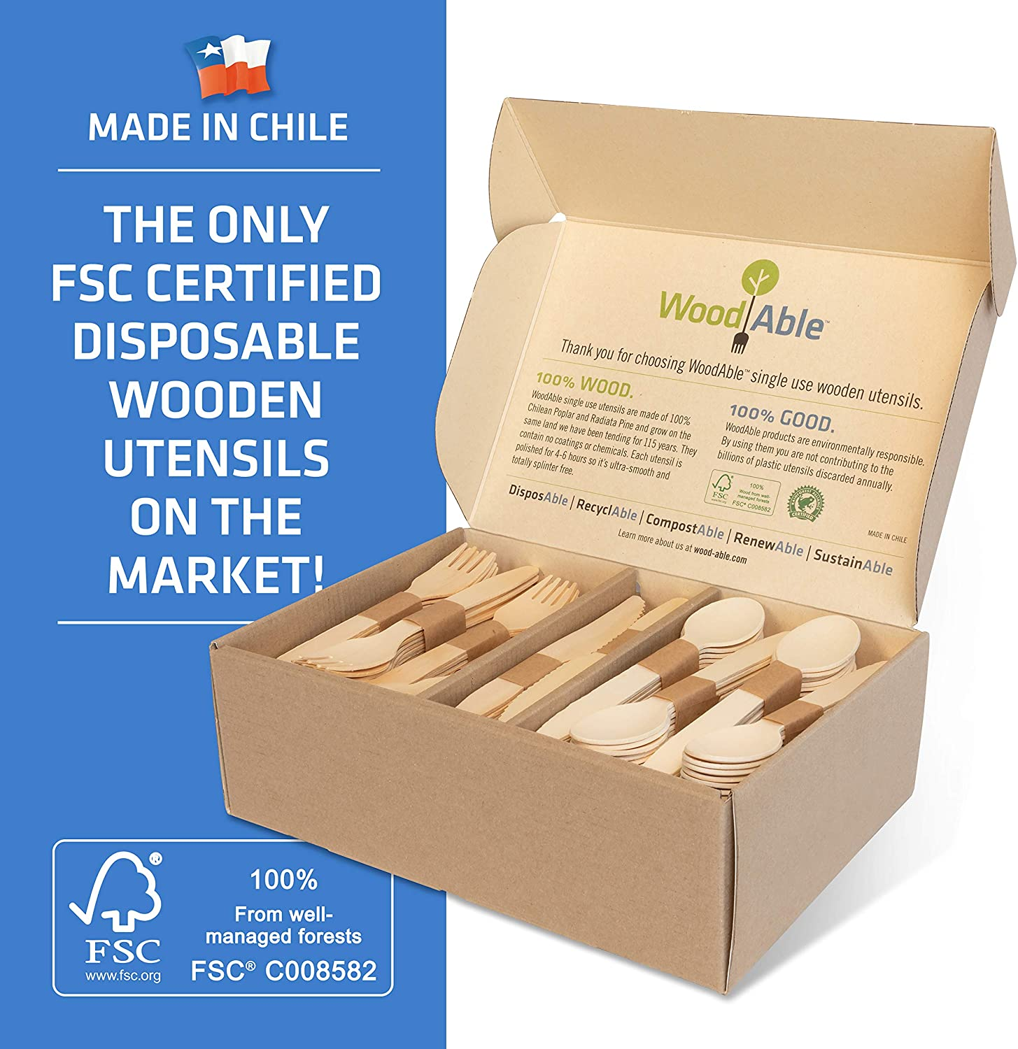 WoodAble - Disposable Wooden Forks, Spoons, Knives Set | Alternative to Plastic Cutlery - Biodegradable Replacements (200 Count - 80 Forks, 80 Spoons, 40 Knives)