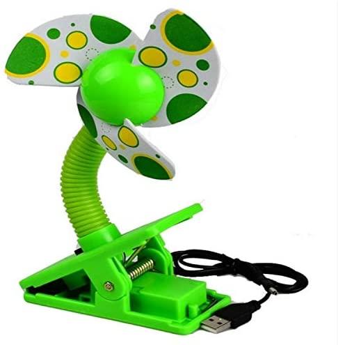 DESHENG Personal Portable Fan Baby Crib Stroller Fan Mini Portable Clip USBCharging Dormitory Office Small Electric Fan (Color : Green)