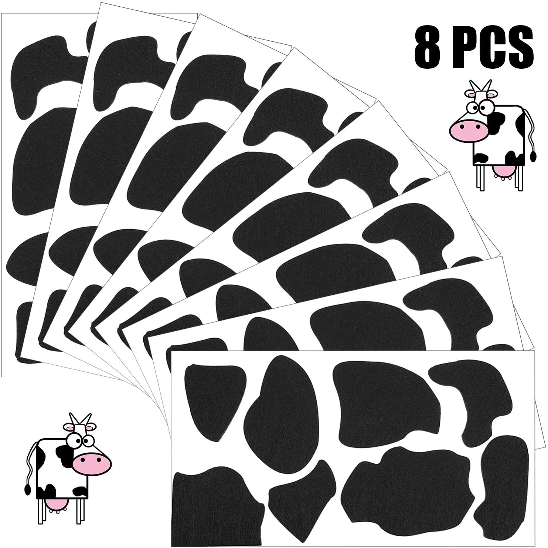 8 Sheets Adhesive Felt Circles Felt Pads Black Self-Adhesive Felt Stickers Irregular Shape DIY Felt Cow Style Felt Circles for Halloween Die Cut DIY Projects Costume