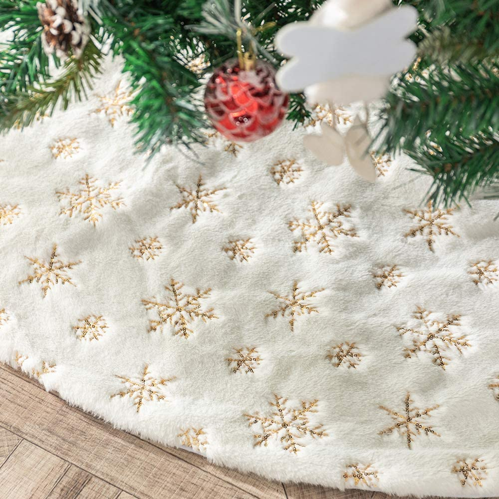 DegGod Plush Christmas Tree Skirts, 48 inches Luxury Snowy White Faux Fur Xmas Tree Base Cover Mat with Sequin Snowflakes for Xmas New Year Home Party Decorations (Gold, 48 inches)