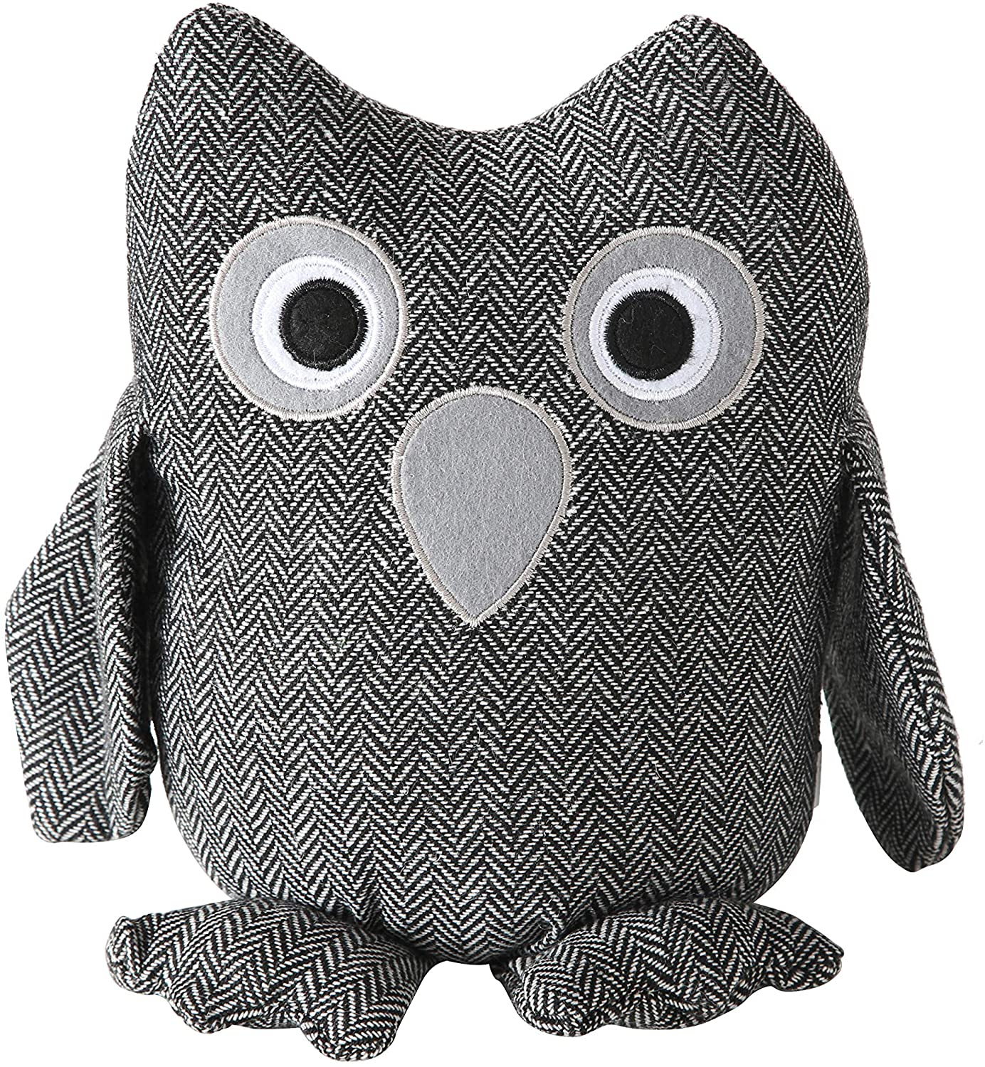 Baby Barn Owl Door Stopper, Rustic Herringbone Fabric with Gray and Black Details, Applique Eyes, Rustic Woven, Polyester, Sand Filling, Weighted Prop, 8 3/4 Inches Tall, 2.3 Pounds