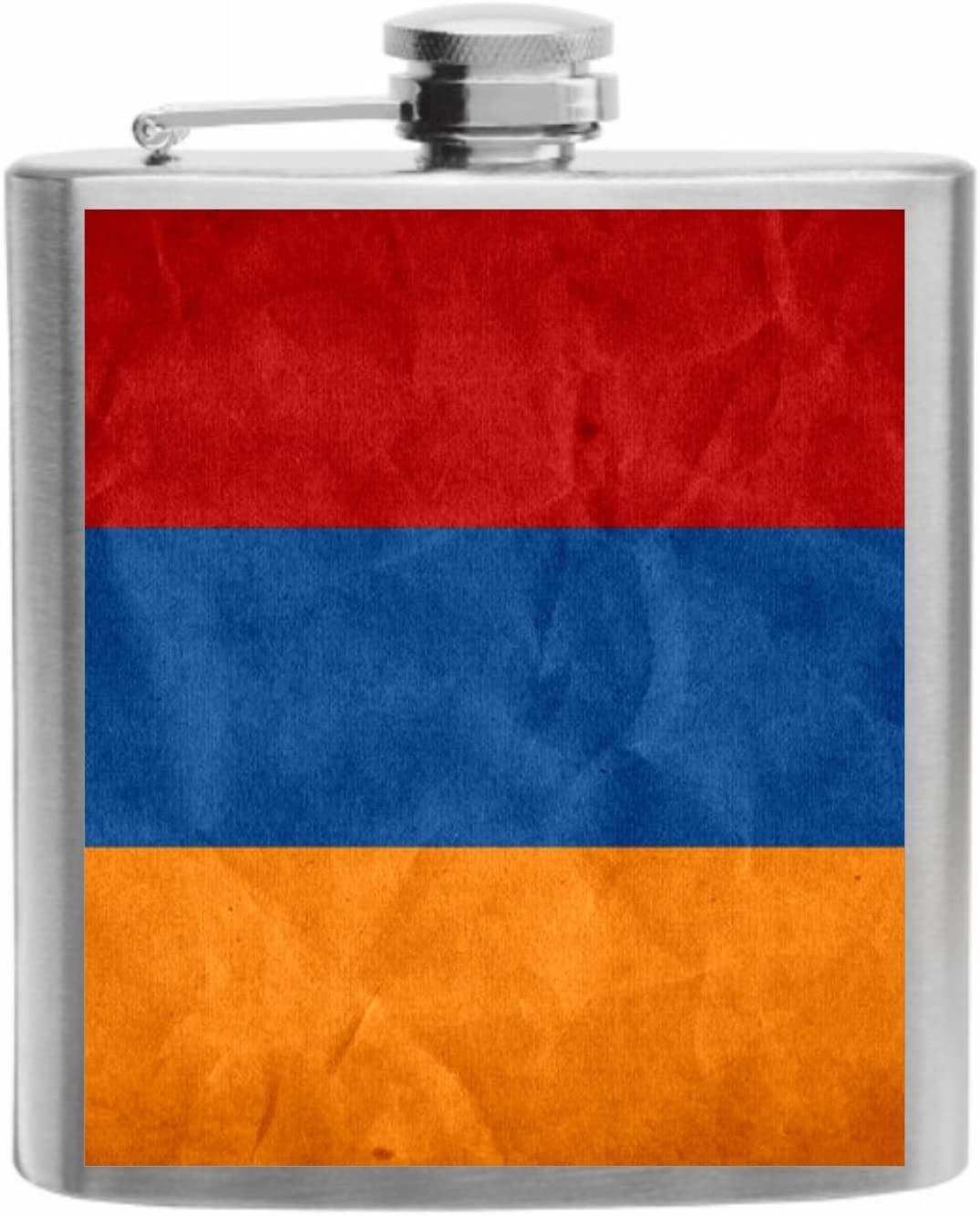 Armenia Flag Stainless Steel Hip Flask 6oz Gift